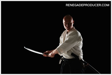 Image of a swordsman that represents the challenges music producers face.