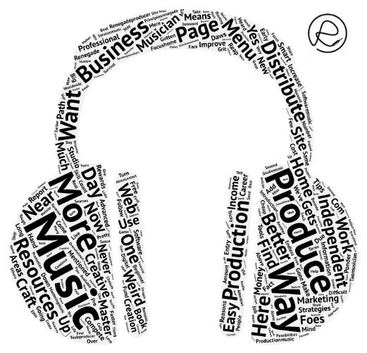 Music Production Word Cloud Shaped Like Headphones