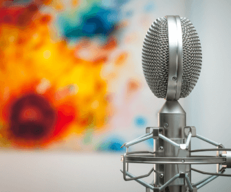 Image of a microphone in a room.