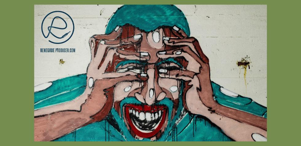 Street art of man screaming
