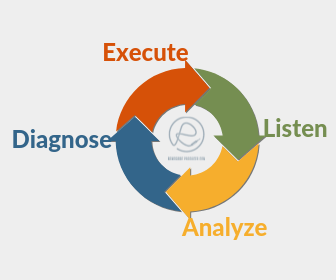 EQ Though Process Diagram - Listen, Analyze, Diagnose, Execute