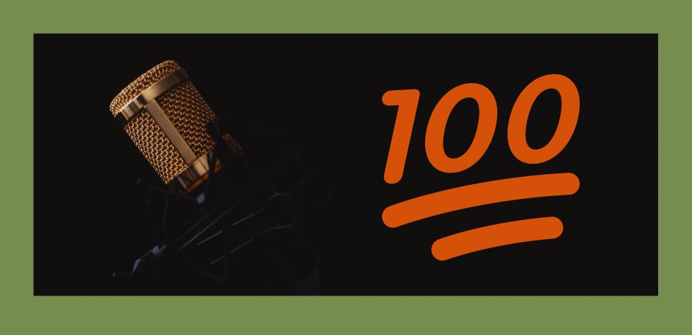 Microphone with 100 emoji