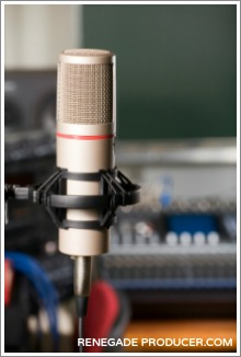 Image of a microphone set up in the recording studio