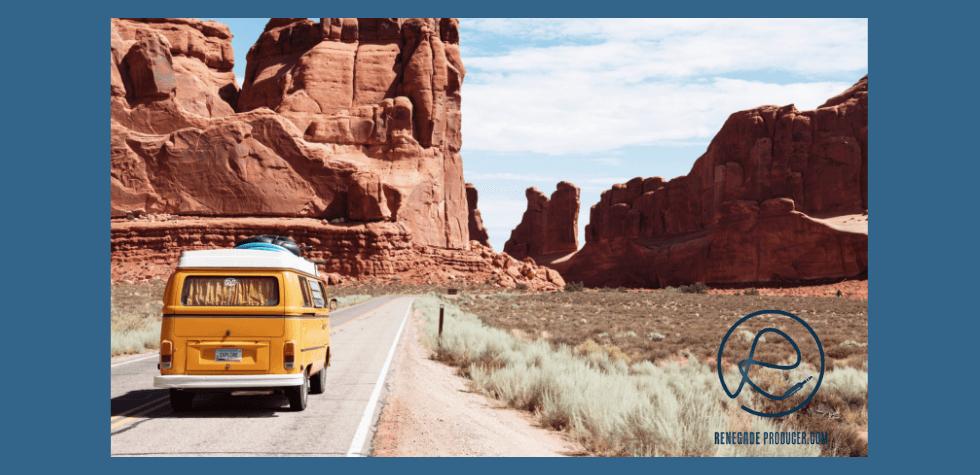 Travel image with van in the desert